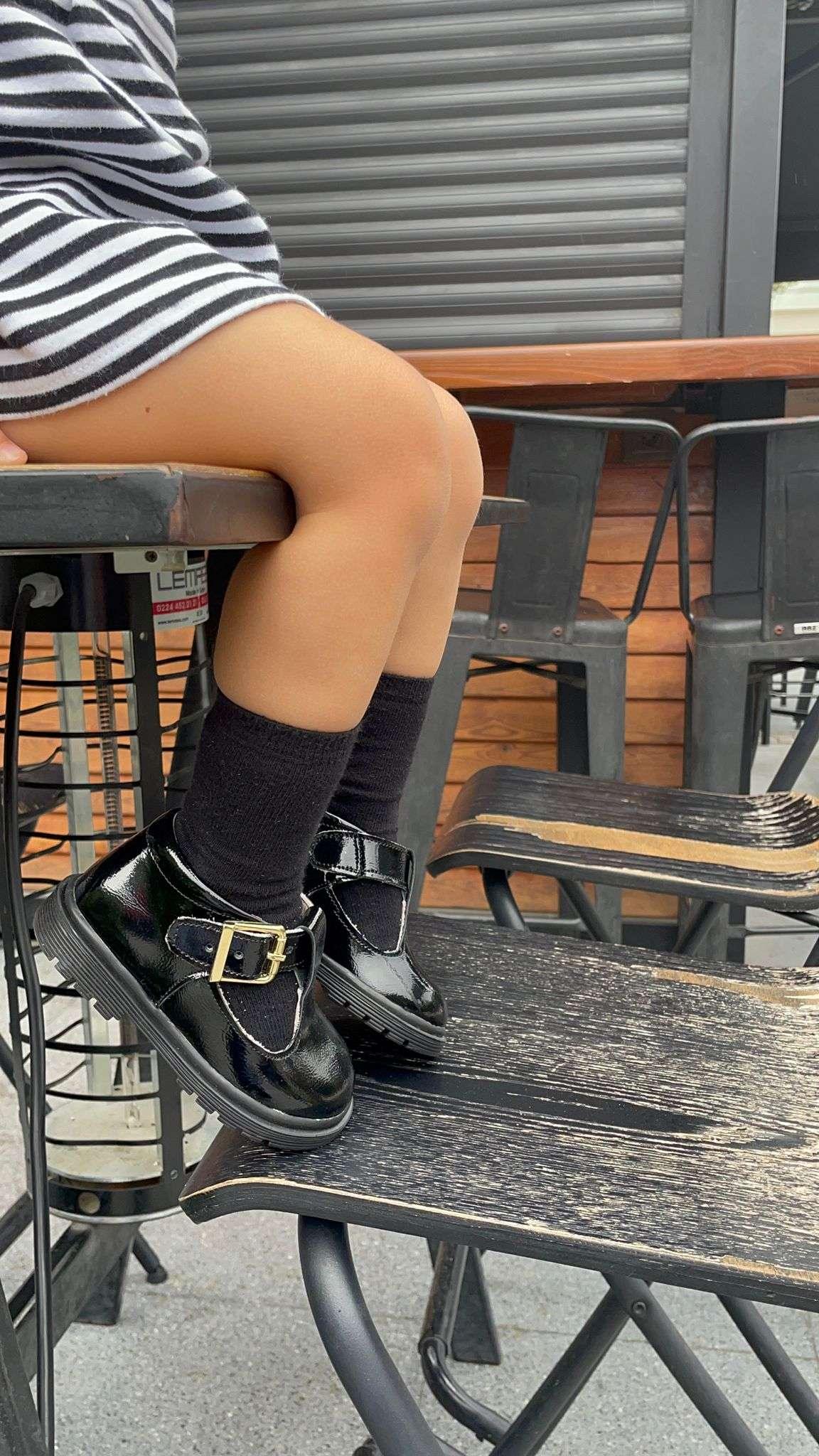 Siyah Rugan Retro İlk Adım Ayakkabısı