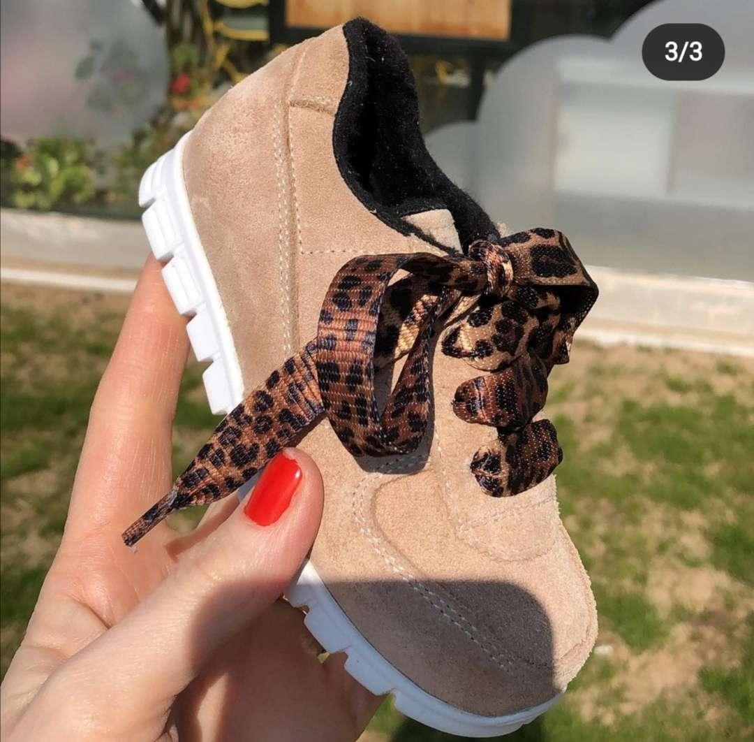 Bej Süet Deri Leopar Bağcıklı Sneaker