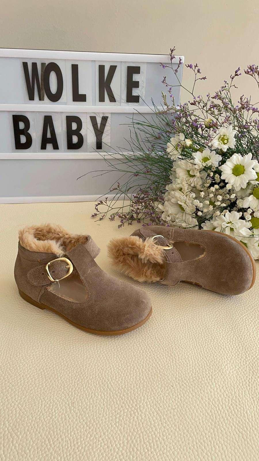 Vizon Süet Deri Kürklü İlk Adım Ayakkabısı