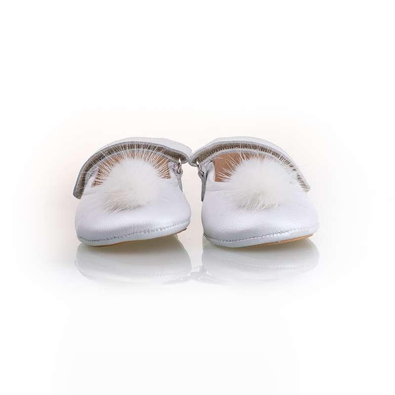 Sedefli Beyaz Kürk Ponponlu