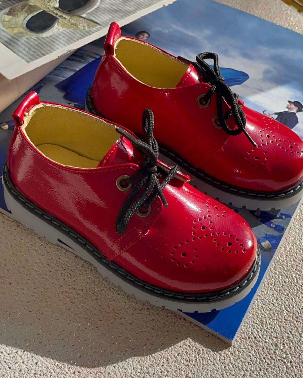 Kırmızı Ruğan Bağcıklı Ayakkabı