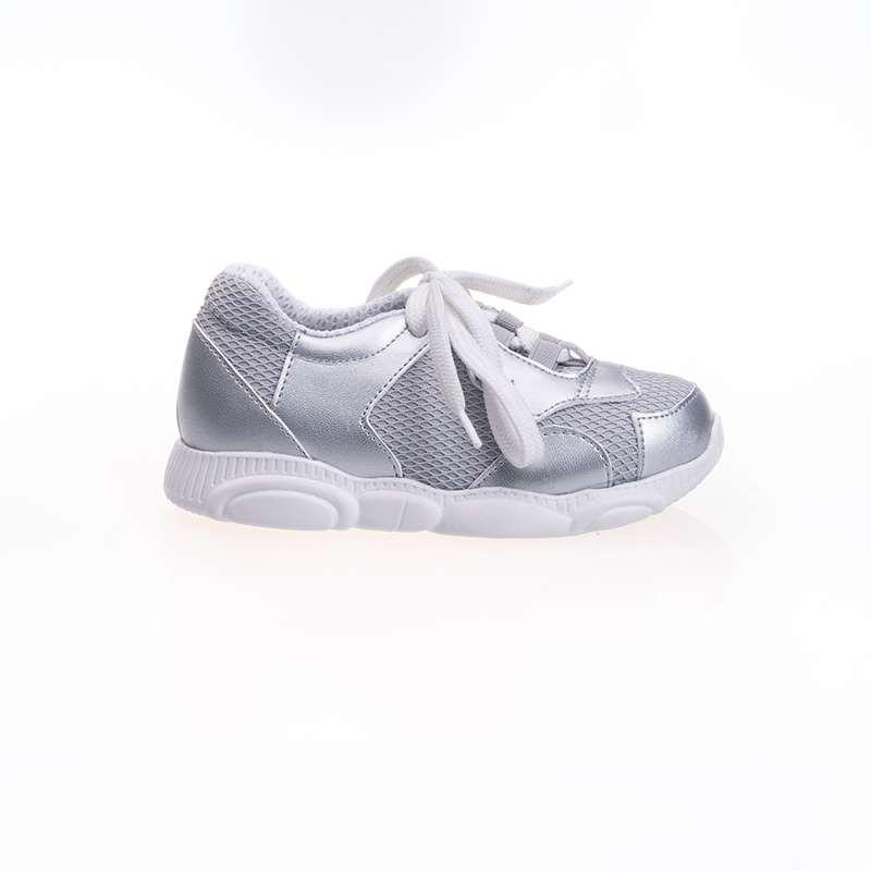 Gümüş Rengi Geometrik Sneaker