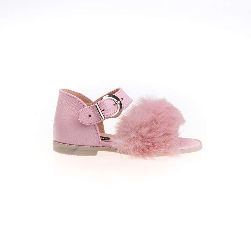 Pembe Kürklü Kız Sandaleti