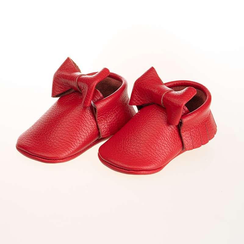 Kırmızı Deri Fiyonklu Makosen