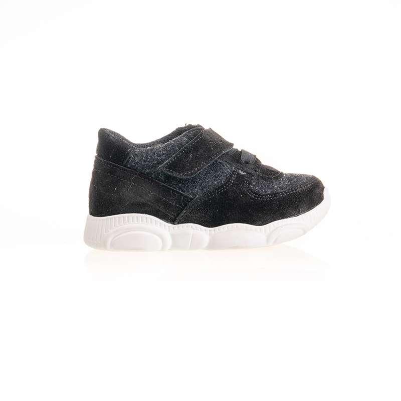 Siyah Deri Cırtlı Sneaker