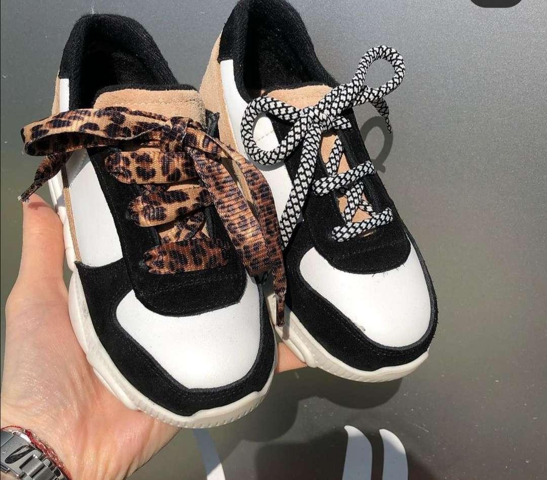 Siyah Krem Beyaz Bağcıklı Sneaker