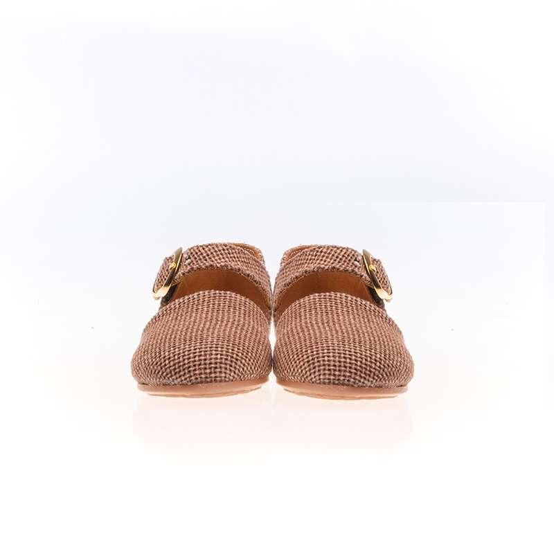 Kahverengi Hasır Kumaş Yazlık Babet