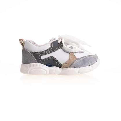 Beyaz Krem Bağcıklı Sneaker